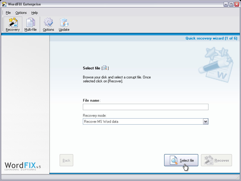 WordFIX Data Recovery - Word recovery software for damaged documents