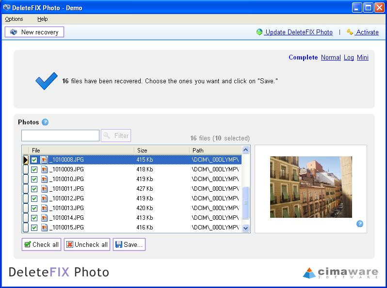Photo recovery and undelete software.
