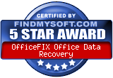 Findmysoft 5 Star Award